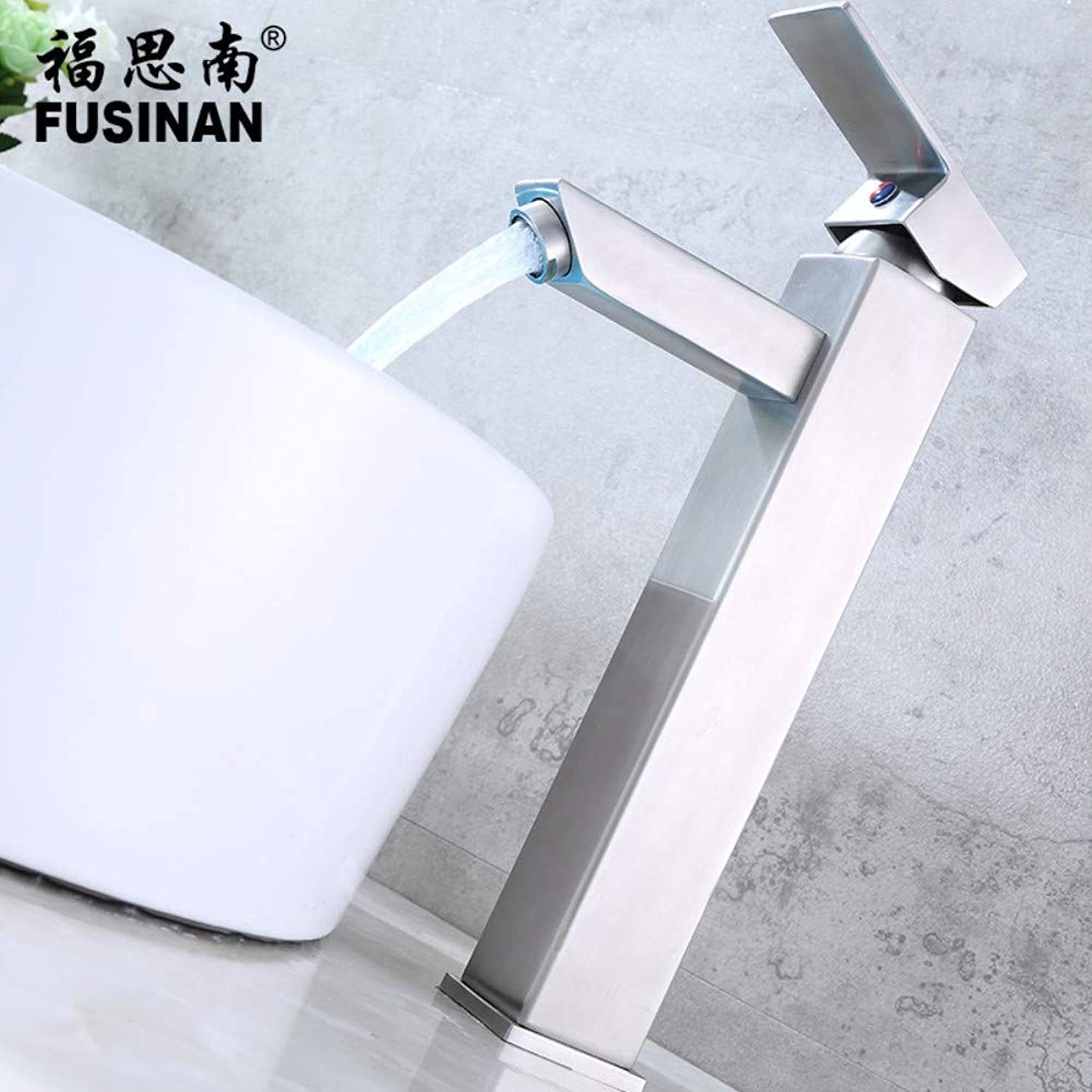 Water Tap Single Handle Taps 304 Stainless Steel Hot and Cold Bathroom Washbasin Faucet Basin Basin High Square Faucet