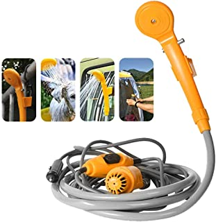 Carrfan Portable Car Shower Washing Tool 12V - Pumps Water from Bucket Into Steady, Gentle Shower Stream for Camping Trave...