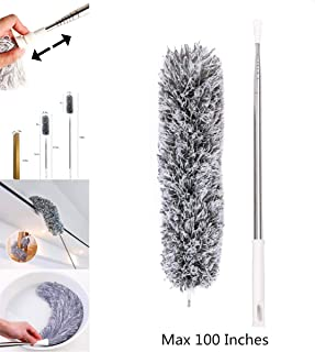 """Microfiber Duster for Cleaning with Telescoping Extension Pole Banlana, 30-100"""" High Reaching Flexible Cleaning Head,Extendable Cleaner for High Ceiling, Window & Blinds"""