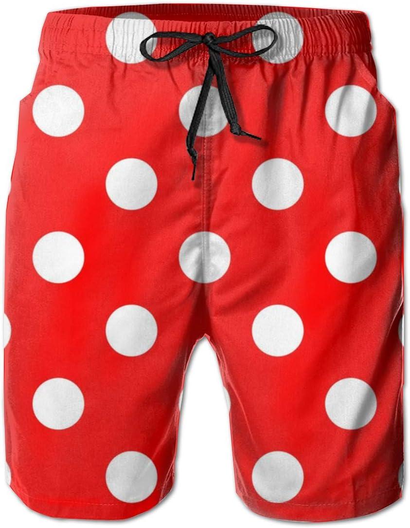 YongColer Men Beach Board Shorts Swim Trunks Bathing Suit - Polka Dot Red