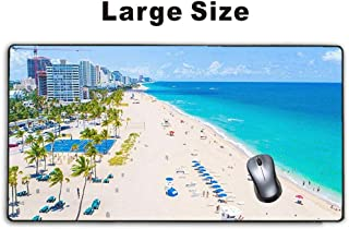 Meharmh - Large Gaming Mouse Pad,Extended Mousepad with Non-Slip Rubber Base for Laptop Computer Desktop Keyboard,Stitched Edges Mat - Fort Lauderdale Beach