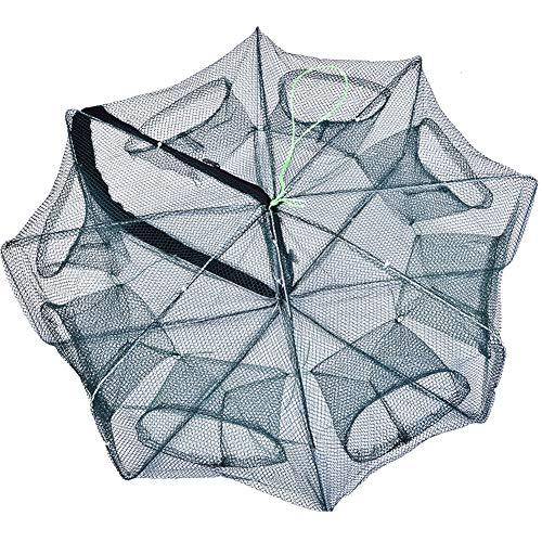 Starbun Fischernetz - Faltbare Krebsgarnelen Fische Langusten Net Trap Cast Dip Cage zum Angeln Grün (8-Loch)