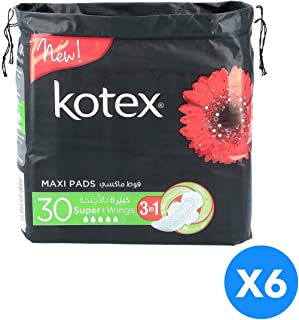 Kotex Maxi Pads Super with Wings Non Coco - Pack of 6 Pieces (6x30 Pads)