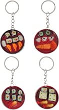 Bestonzon 4pcs Japanese Style Keychain Decorative Bento Box Key Ring Hanging Pendant Creative Car Bag Keychain Gifts Decor...