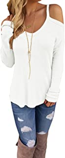 Eiffel Women's Cold Shoulder Waffle Knit Long Sleeves Pullover Sweater Tops Blouse Tunic