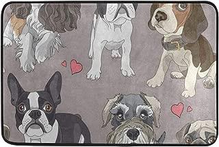 Cartoon Puppy Pug Dog Heart Door Mat 24 x 16 Inch Absorbs Mud Doormat No Odor Durable Anti-Slip Rubber Back Entrance Door Mats Rug Large Cotton Shoe Scraper Pet Mat Indoor Outdoor Machine Washable
