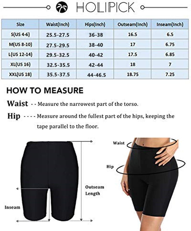 Holipick Women High Waisted Swim Shorts Tummy Control Boy Shorts Swimsuit Long Board Shorts Bathing Suit Bottoms
