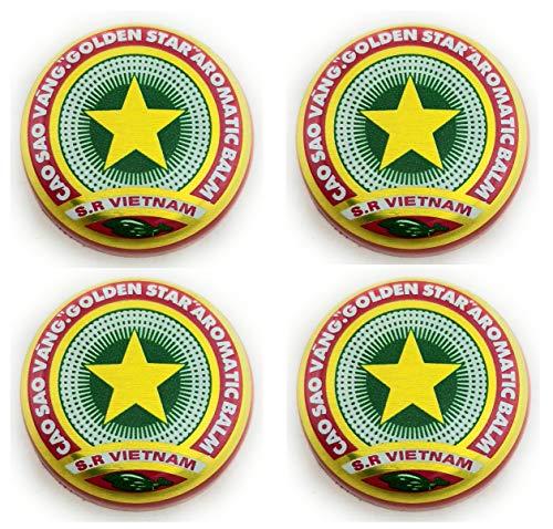 4 x 3g Golden Star Balm - Cao Sao Vang - Golden Star Balsam - Gold Star Balsam - Schmerz - aromatischen - natürliches Heilmittel - vietnamesischen Salbe - Relief - Only From Vietnam