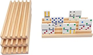 JUNWRROW Premium Pinewood Dominoes Racks Organizers - Set of 4 for Mexican Train Dominoes, Chickenfoot Dominoes and Other ...