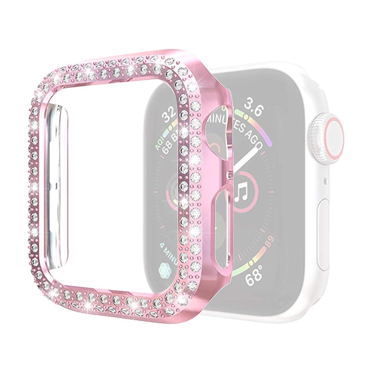 腐った忍耐欠如4Fires スマート腕時計アクセサリー Apple iwatch 4 44 mm用ウルトラスリムラグジュアリーダブルクリスタルPCカバープロテクター