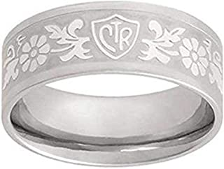 J125 LDS Unisex CTR Ring Daisy Flower Scroll Stainless Steel Size 5-10.5