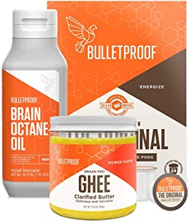 Bulletproof Original Coffee & Brain Octane MCT Oil Bundle - Perfect for Keto and Paleo Diet, 100% Non-GMO Gourmet Organic Beans, Responsibly Sourced Premium C8 Oil (Pods Kit + Ghee)