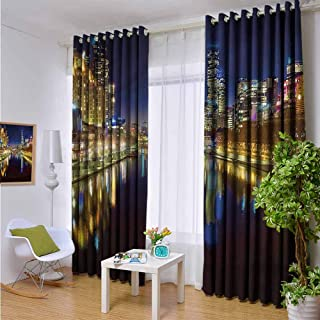 Alvis Howells W96 x L84 Nursery & Infant Care Curtains,City,Night in Melbourne River,Backout Curtains for Baby Bedroom