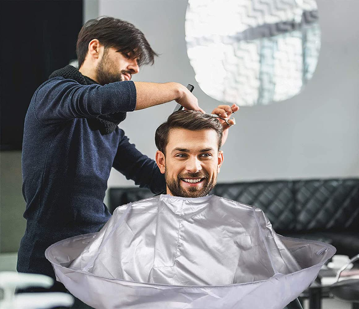 Hair Cutting Cloak Umbrella Cape Salon Barber Use at Home or Salon Stylist Hairdressing (Adult, Silvery) : Beauty & Personal Care