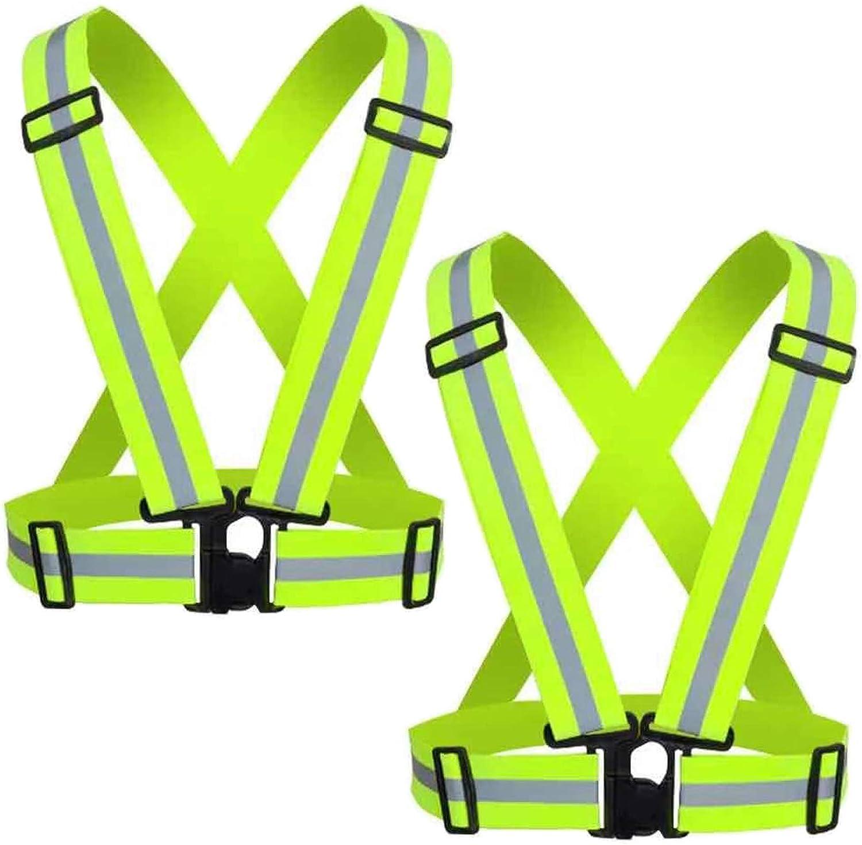 SALENEW very Mail order popular Cezmkio Reflective Safety Vest Running Adjustable 2pcs