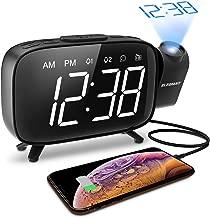ELEGIANT Reloj Despertador Digital Proyector con FM Radio, Brillo 3 Niveles Atenuador 7 Alarmas de 6 Volúmenes Proyector 180 ° Pantalla Plegable, Puerto USB, 12/24 Horas, Snooze