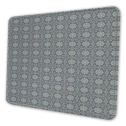 N\A Almohadilla de Teclado Vintage Motivos Florales Tradicionales persas con influencias arabescas Alfombrilla de ratón de Azulejos Antiguos para computadora de Escritorio Crema Azul Oscuro