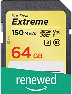 SanDisk 128GB Extreme SDXC UHS-I Card - C10, U3, V30, 4K UHD, SD Card - SDSDXV5-128G-GNCIN (Renewed)