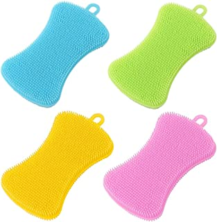 4 Pack Silicone Spong Kitchen Dish Sponges Brush Scrubber BPA Free Washing Gadgets for Kitchen Washing Household Cleaning
