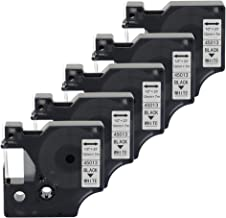 5-Pack Replace DYMO D1 Label Tape 45013 S0720530 Black on White 12mm x 7m, D1 45013 Labeling Dymo Refills for DYMO LabelManager 160 280 PnP 360D Labelwriter 450 Duo 1/2 Inch x 23 Feet