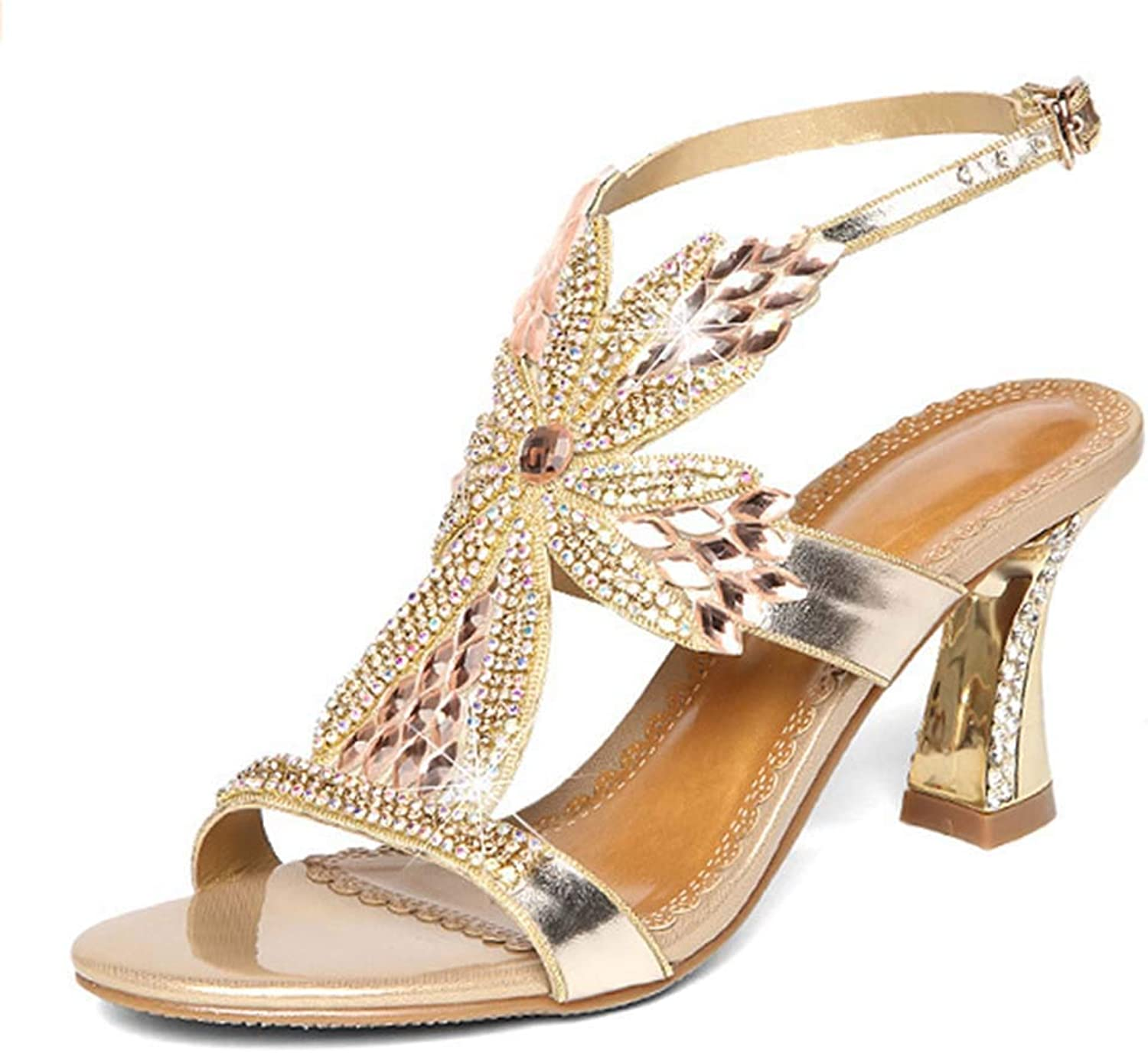 Women's Sandals high Heel Leather Rhinestone Sandals Thick with Diamond-Encrusted Open Toe Sandals Summer New