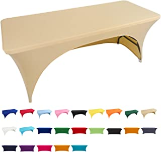 Spandex Fitted Stretch Tablecloth Rectangular Polyester Table Cover for Wedding Banquet Party (5 ft. Open Back, Beige)