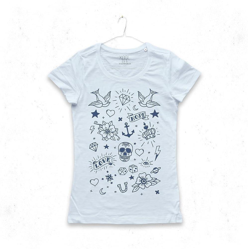 Maglietta Tatuaggi Maglia Donna Stella Teschio Diamante Star Anchor Diamond Old School Tattoo Elements T-Shirt Girl