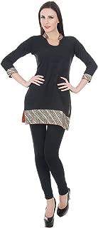 Devaleena Creations Black Jute Cotton Kurta- with Collar-Sleeve- Hemming ZigZag Embroidery work- for Girls