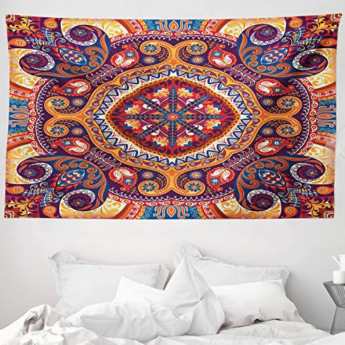 ABAKUHAUS Cachemir Tapiz de Pared y Cubrecama Suave, Alfombra De Flores Arabe, Material Resistente, 230 x 140 cm, Multicolor