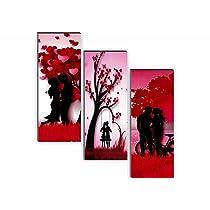 SAF Set of 3 Couple Valentine Day 6MM MDF UV Textured Self adesshive Painting 18 Inch X 15 Inch SANFJ196