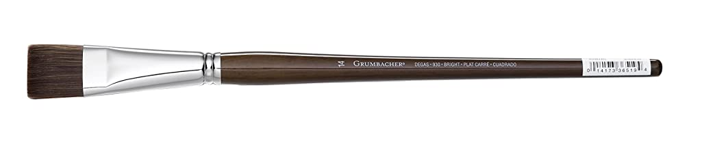 Grumbacher Degas Bright Oil and Acrylic Brush, Mixed Synthetic Bristles, Size 14 (930B14G)