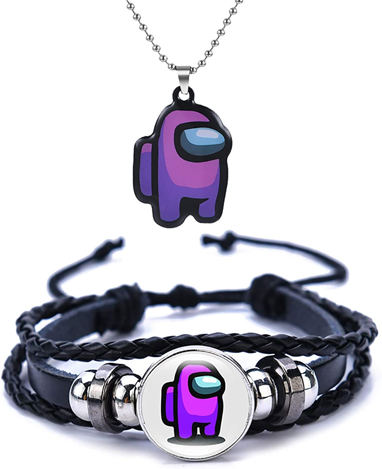 HERSESI Pendant Necklace Bracelet Set for Men Women Strategy Casual Game Lovers Jewelry