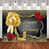 RUINI Shiny Sequin Black Gold High Heels Champagne Red Rose Balloons Happy Birthday Party Backdrop 7x5FT