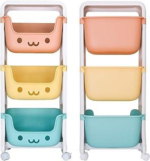 DoubleBlack Panier de Rangement pour Jouets Organisateur de collations pour Enfants Mobile Rack à 3 Couches en Plastique p...
