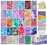 Dessie 30 Abstract Blank Cards and Envelopes - 30 Different 4x6 Inch Blank Note Cards w/Colorful Envelopes & Gold Seals. Assorted Greeting Cards For All Occasions.