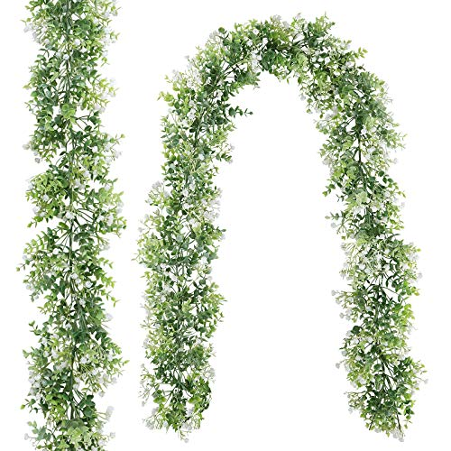 CEWOR 2 Pack 5.7ft Artificial Eucalyptus Garland with White Flowers Faux Hanging Plants Greenery Vines for Wedding Table Wall Party Home Backdrop Decor
