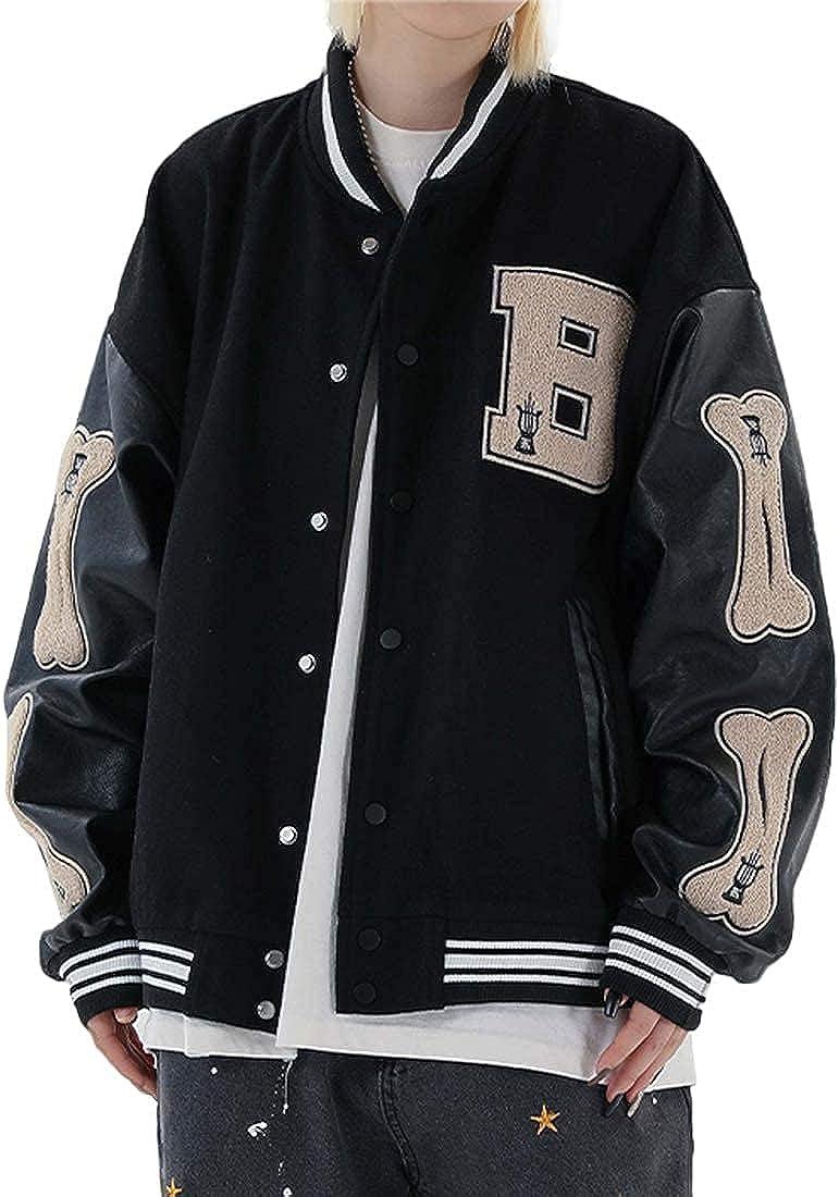 Aelfric Eden Men's Baseball Jacket Varsity Classic Casual Sweatshirt Patchwork Stand Collar Sport Outwear Tops