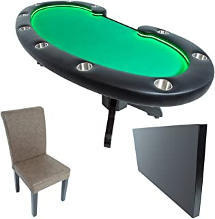 BBO Poker Lumen HD Lighted Poker Table for 10 Players with Felt Playing Surface, 101.5 x 46-Inch Oval, Includes Matching Dining Top with 10 Dining or Lounge Chairs