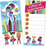 Old Blue Door Invites Girls Superhero Birthday Party Invitations for Kids (12 Count with Envelopes) - Large 4 x 9 Inches