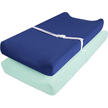"""TILLYOU Jersey Knit Ultra Soft Changing Pad Cover Set-Cradle Sheet Unisex Change Table Sheets for Baby Girls and Boys-Fit 32""""/34'' x 16"""" Pad-Comfortable Cozy -2 Pack, Navy Blue & Lt Green"""