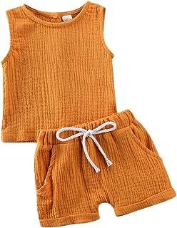 ملابس أطفال أطفال بنين بنات ملابس سادة بدون أكمام سترة تانك توب شورت شورت مجموعة ملابس صيفية قطعتين