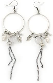 Long Antique Silver Tone Bead, Chain Charm Hoop Earrings - 12cm Length