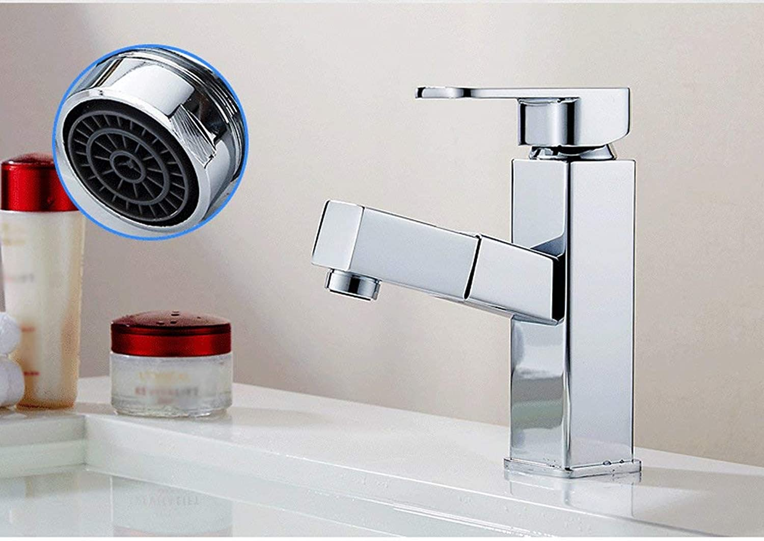 DYR Faucet All Copper Pull Type Faucet Hot And Cold Sink Single Hole Faucet Can Shampooed Telescope