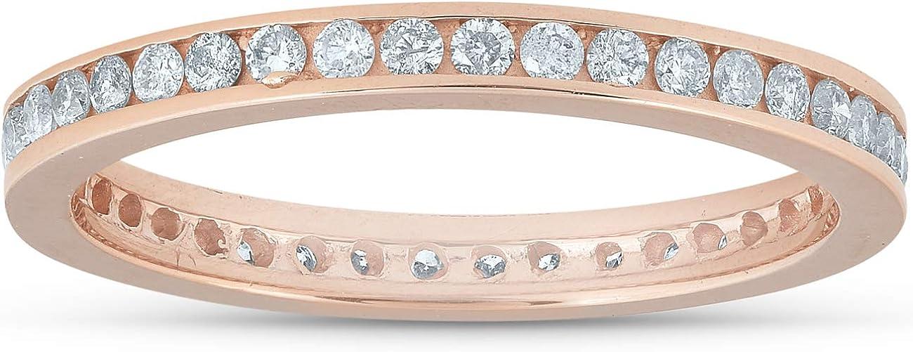 1/2 Ct Diamond Eternity Ring 14k Rose Gold Channel Set Wedding Band