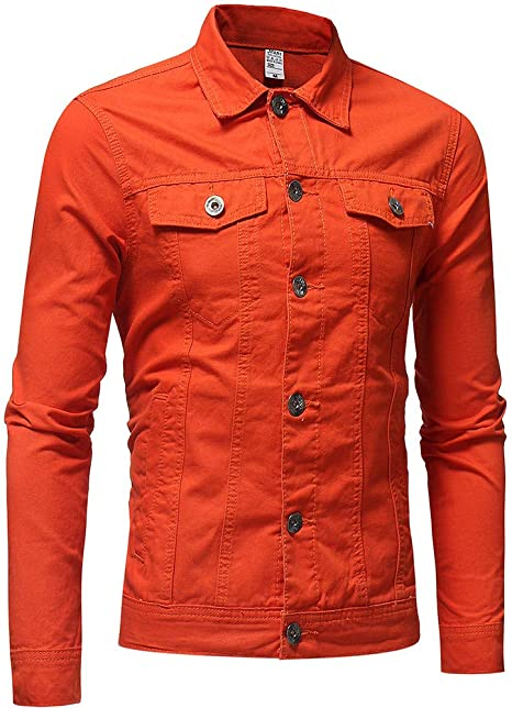 Internet_camisetas de hombre Chaqueta de Mezclilla Vintage Color sólido de los Hombres del botón del Invierno del otoño Remata la Capa de la Blusa