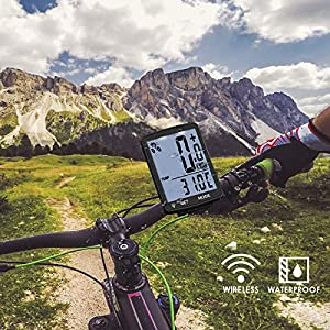 Cuentakilómetros Bicicleta Inalambrico, Impermeable Cuentakilometros Bicicleta Spinning, Velocímetros Bicicleta Inalámbrico con Retroiluminación de Pantalla LCD, Ciclocomputador Bici Montaña-Blanca