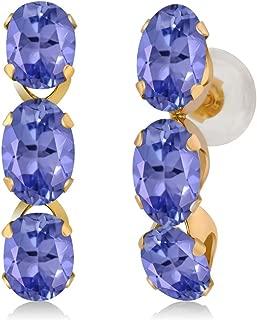 2.70 Ct Oval Blue Tanzanite 14K Yellow Gold Earrings