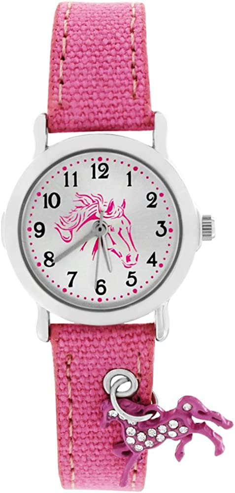 Crystal Blue 20015 – Reloj de pulsera para niños, analógico, con cuarzo, con un colgante de caballo en la correa, de color rosa