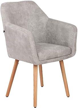 Chaise de Salle à Manger Utrecht Style Vintage - Rembourrée Revêtement Similicuir - Chaise Design avec Accoudoirs et Dossier
