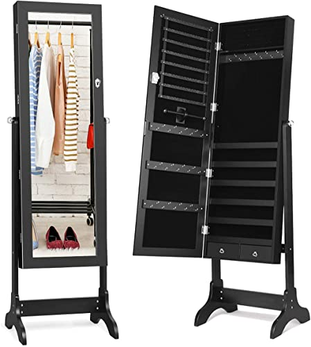 popular Giantex Lockable Standing Jewelry Armoire with Full Length Mirror, popular Large Storage Capacity 2021 Jewelry Cabinet Organizer with 2 Drawers, 4 Angel Adjustable, Extra Wide Mirror, for Women Girls (Black) outlet sale